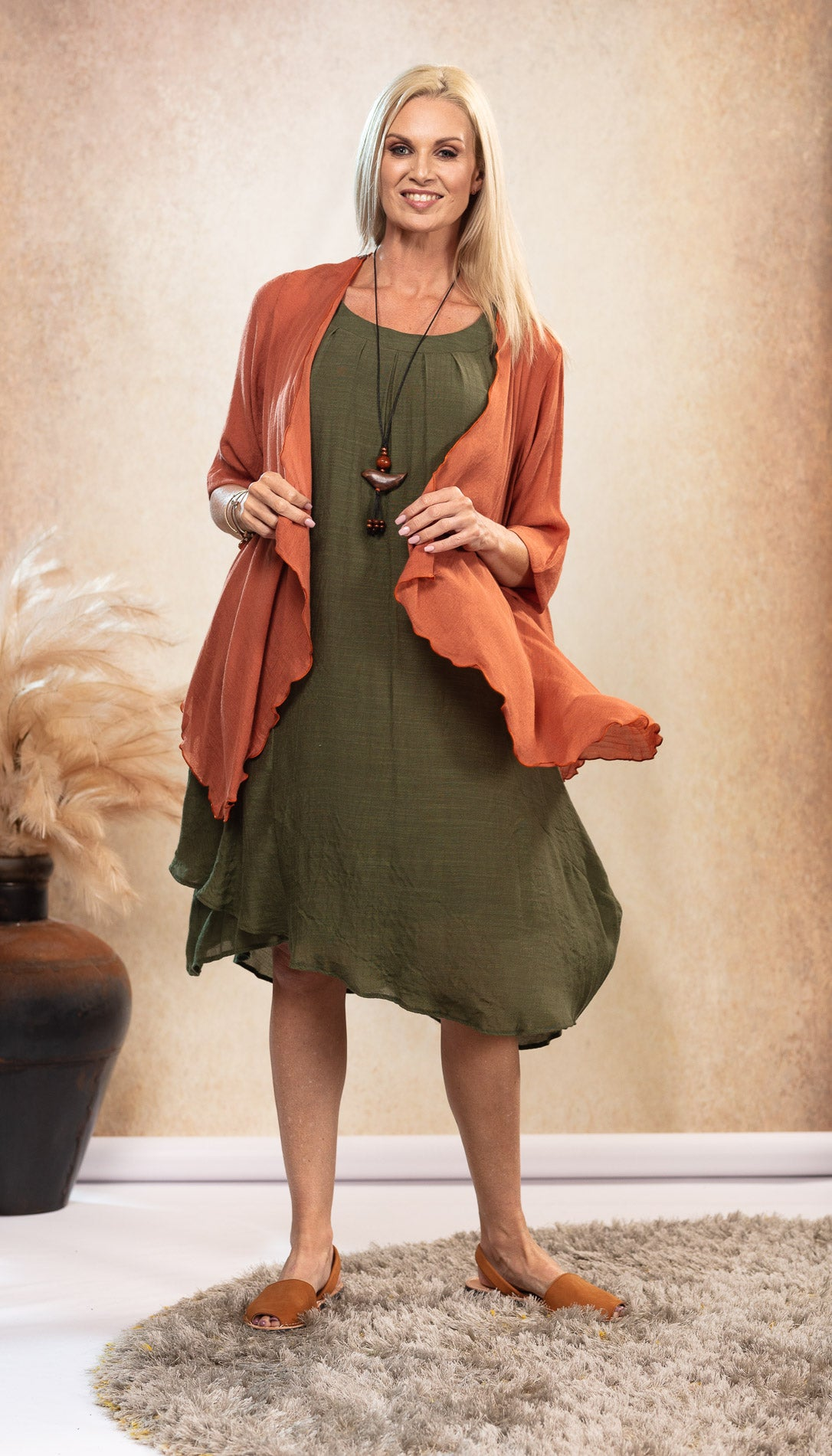 Bamboo Dress in Olive Khaki Green. Black and Taupe Avarca Sandals. Infinity Top Jacket Rust Orange.
