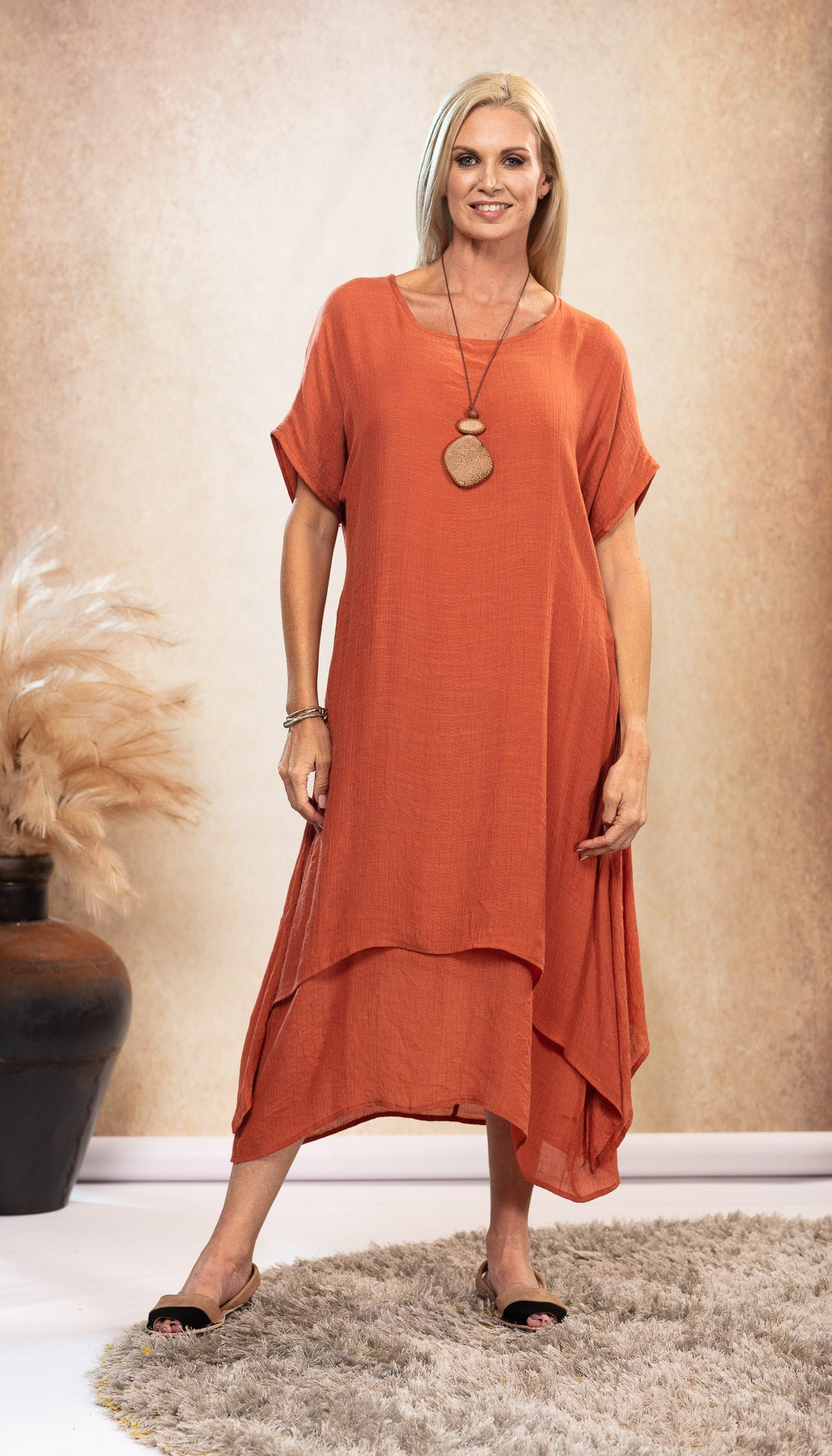 Bamboo Dress in earthy Rust with pockets Australian designed and owned