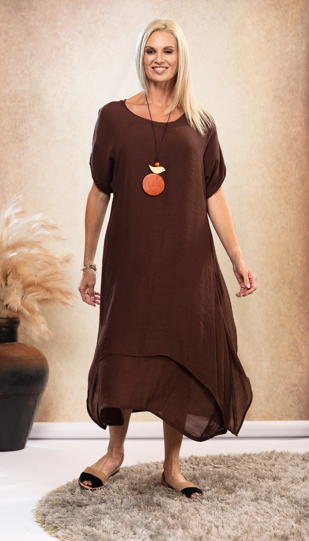 Bamboo Dress in Chocolate with pockets Australian designed and owned