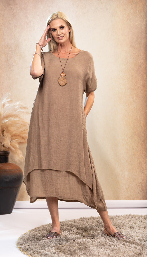 Bamboo Dress in Beige Latte with pockets Australian designed and owned