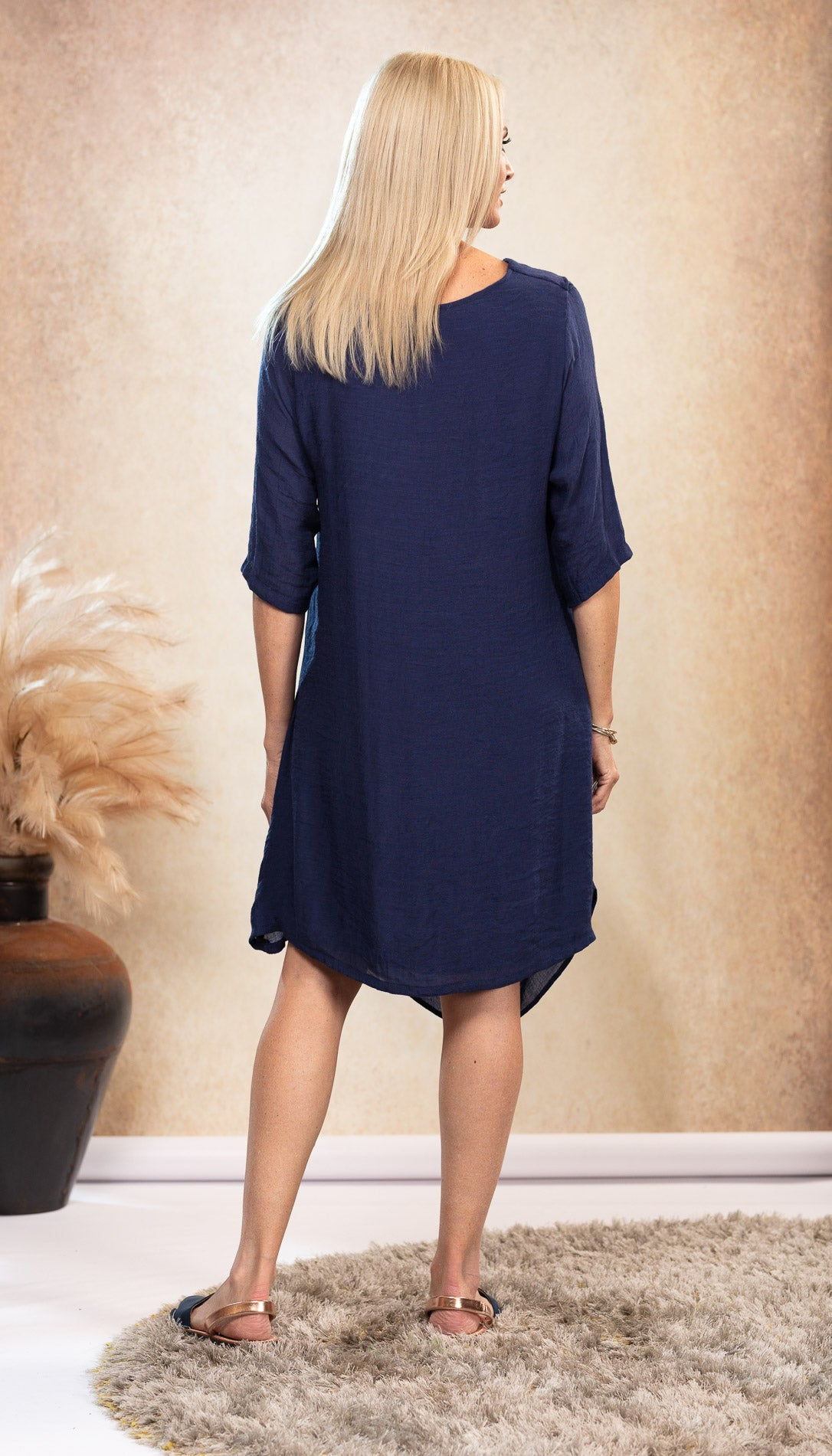 Bamboo Navy Blue Dress. Elegant bamboo design for all sizes. Australian designed and owned.