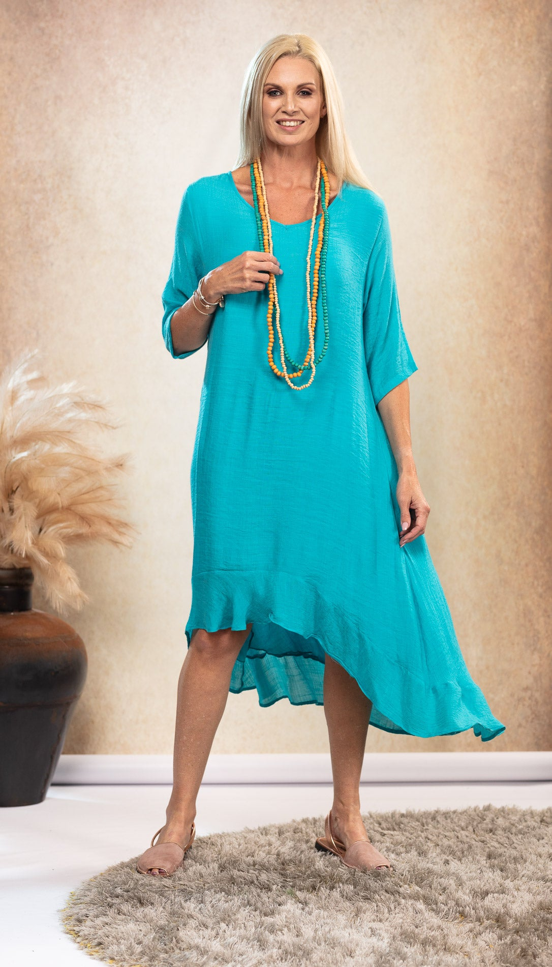 Bamboo Long Dress with sleeves. Aqua Turquoise. Natural nude Avarca sandals.