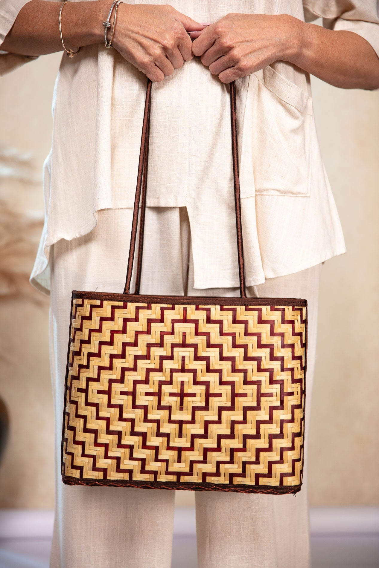 Bamboo Bag Thatched Copper and Natural Colour Hand-Made Light Weight