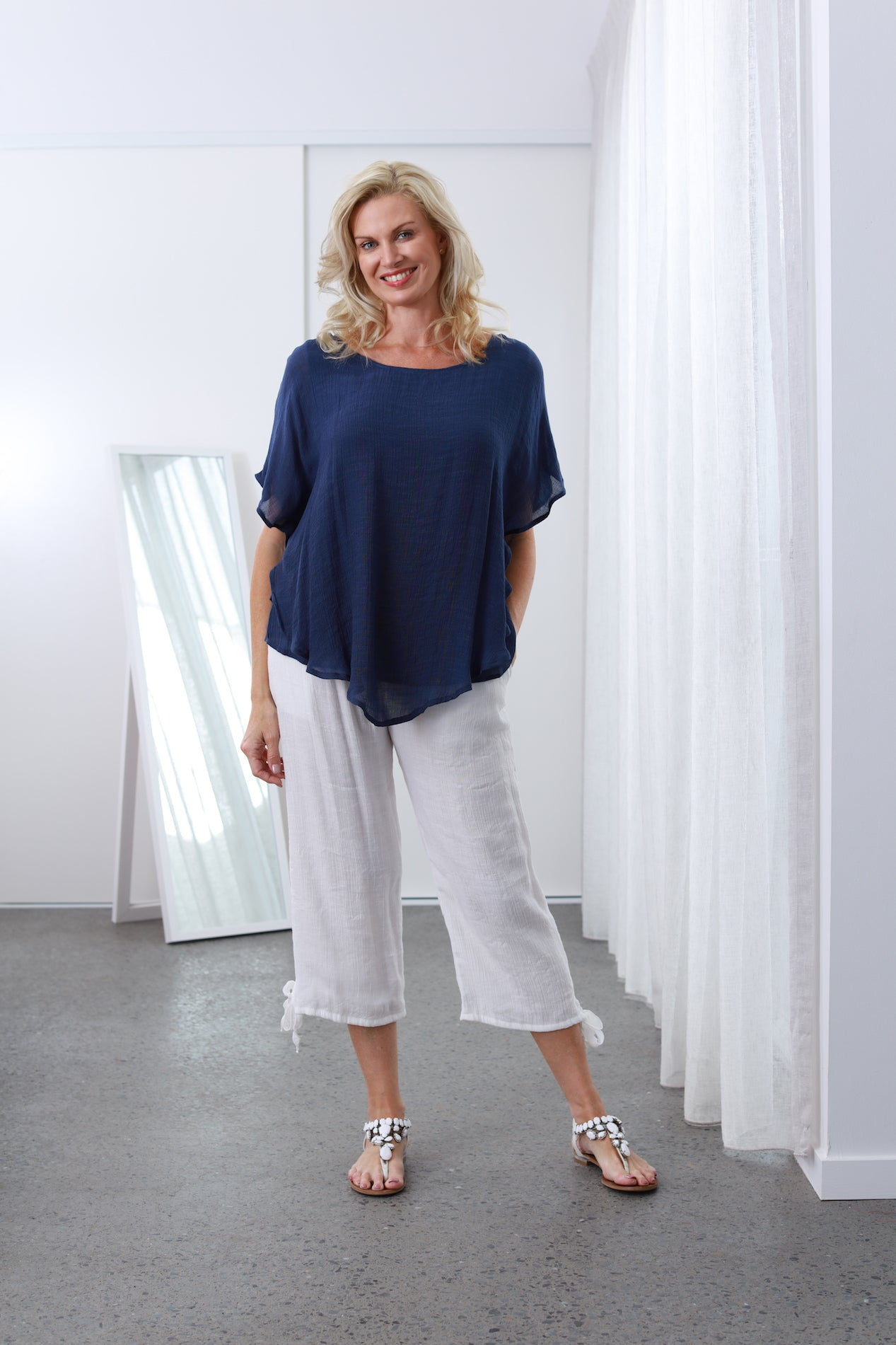 Bamboo Navy Blue Top Cool Comfortable No ironing needed