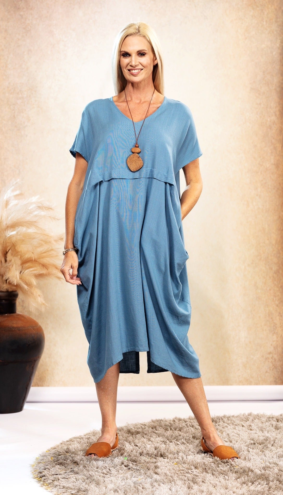 Linen Waterfall Dress in Sky