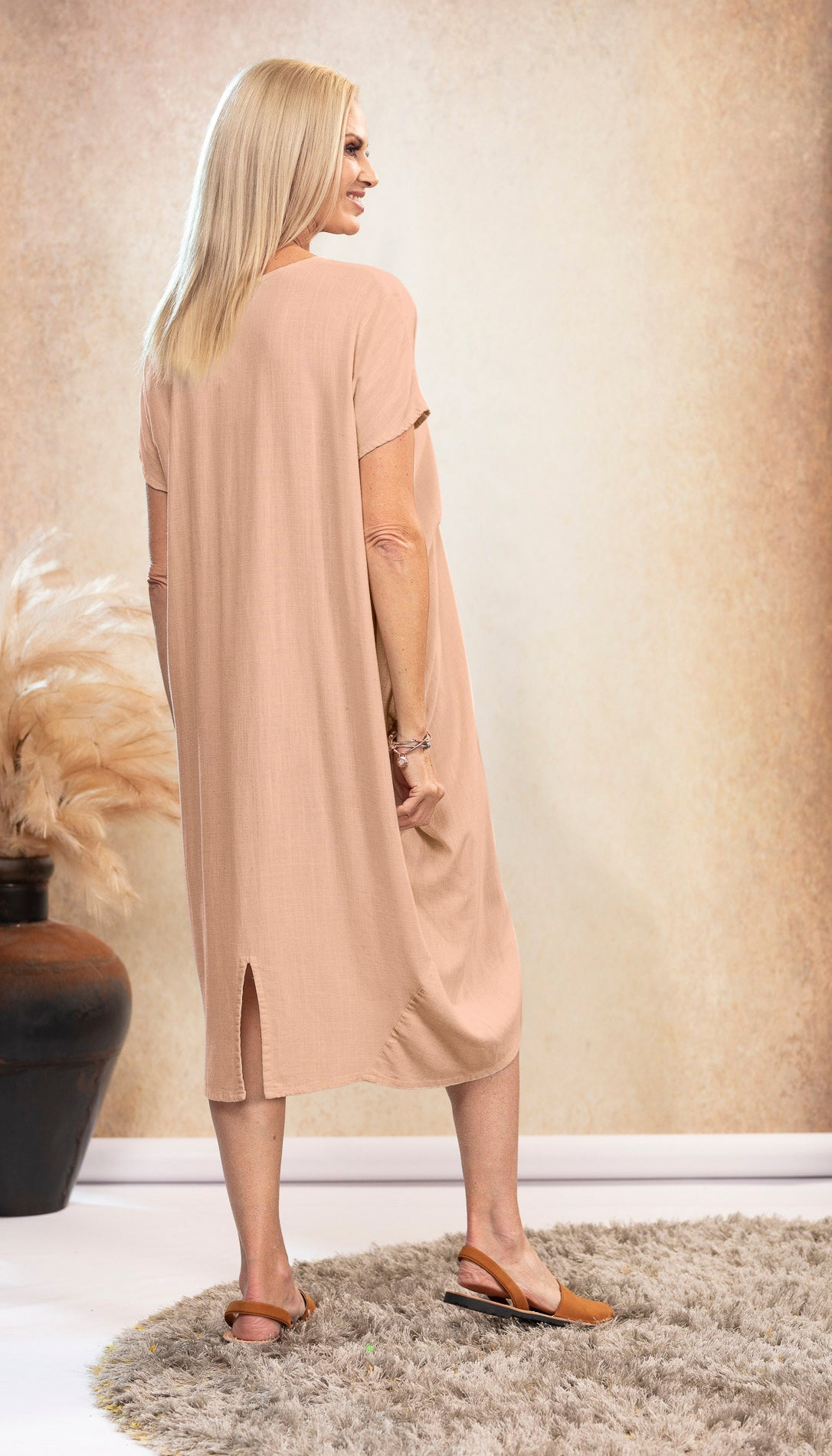 Linen Waterfall Dress in Dusk