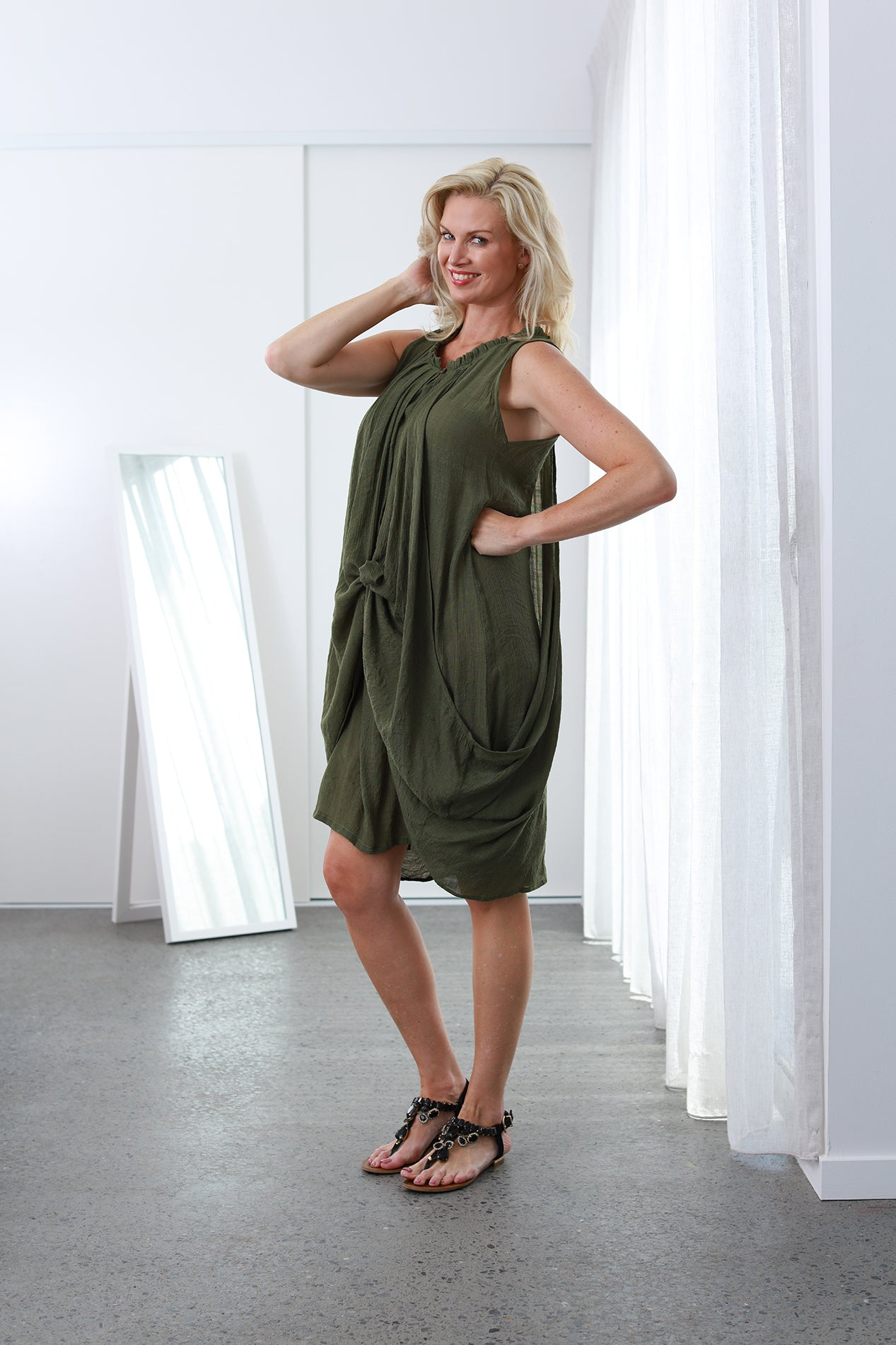 Sue Ellen Olive Green NEW SIZE RANGE XS to 5XL