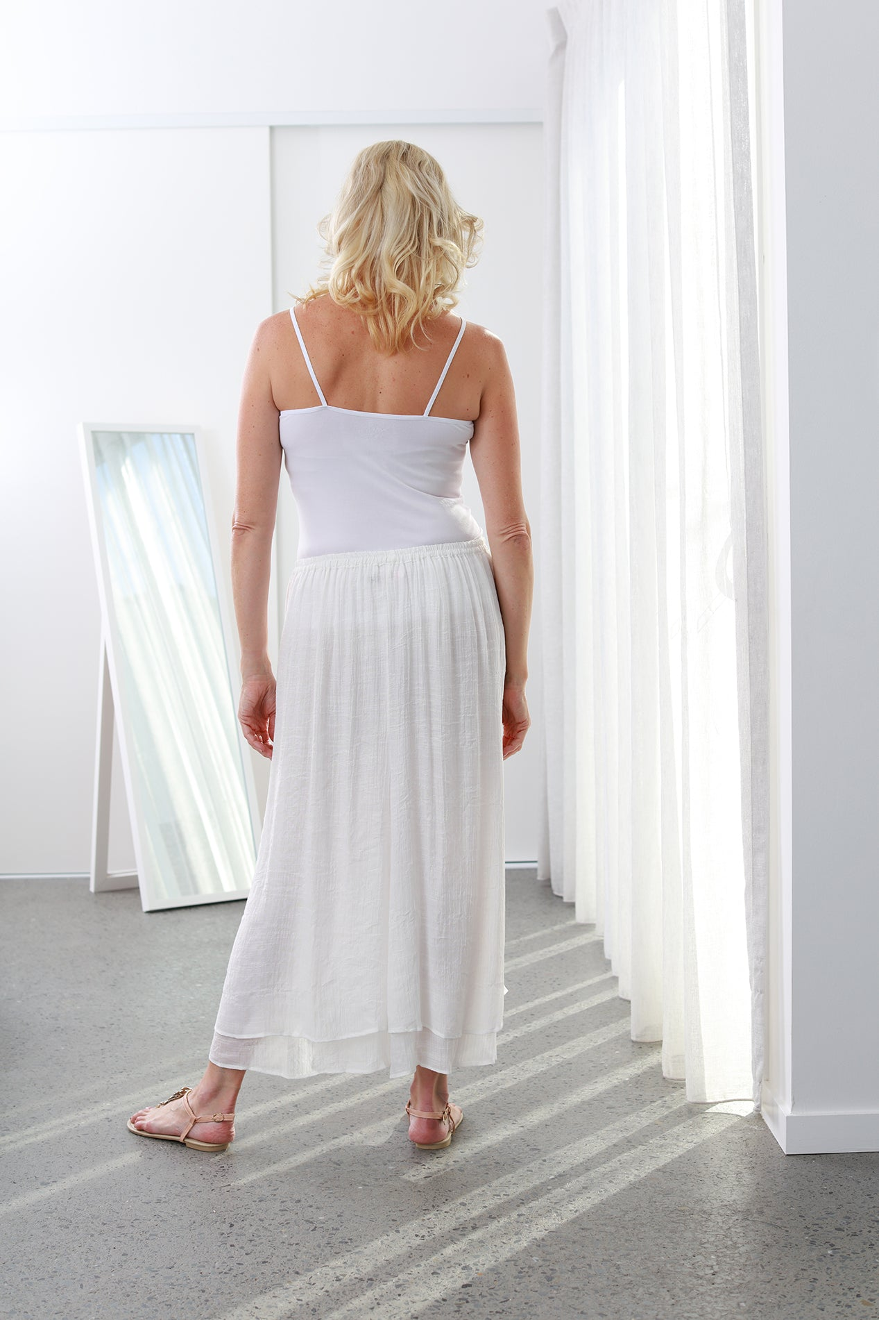 White Colour Bamboo Skirt