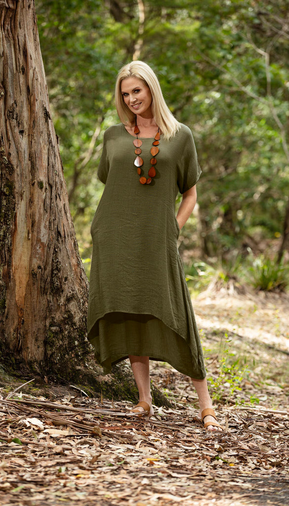 Brigitte Dress Olive NEW COLOUR