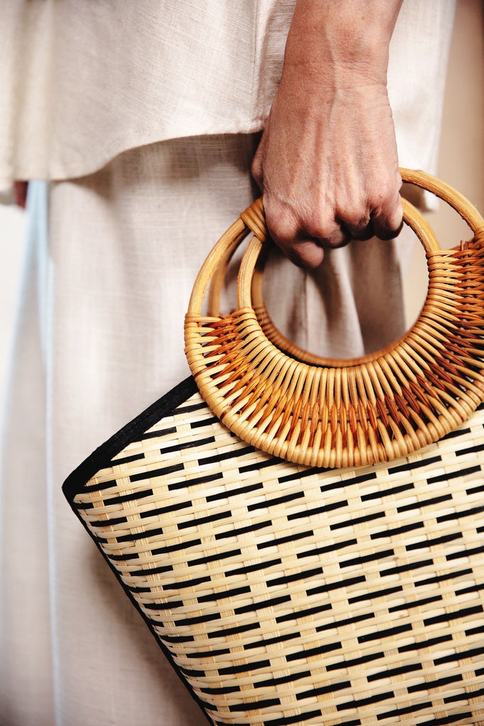 Bamboo Thatched Bag  Round Handle Natural Colour  Hand-Made Light Weight