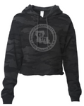 Crossfit 171:  Ladies Black Camo Cropped Hoodie