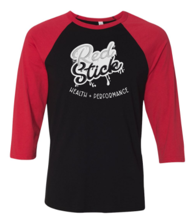 Red Stick:  Paint Splatter Adult Unisex Raglan *Available in 3 Color Options