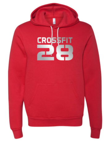 CrossFit 28 Metallic Silver Logo:  Unisex Sponge Fleece Hoodie *Available in 4 Color Options