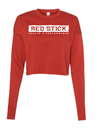 Red Stick Horizontal Logo:  Ladies Cropped Crew Fleece *Available in 3 Color Options