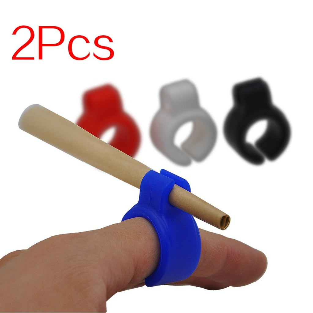 2Pcs  Creative Finger Protector Silicone Cigarette Holder Ring for Regular Smoking Accessories