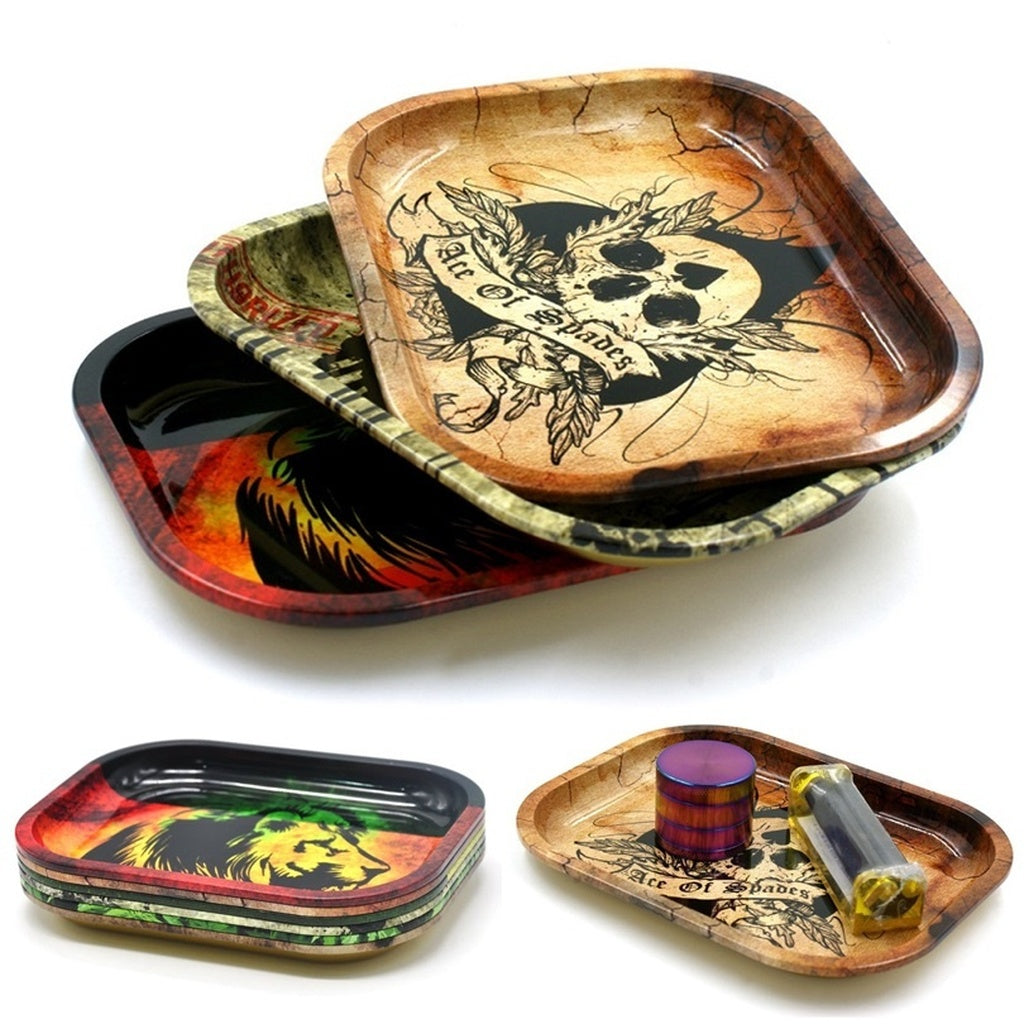 Metal Tobacco Rolling Tray Hand Roller Tobacco Grinder Rolling Trays 6 Color Optional