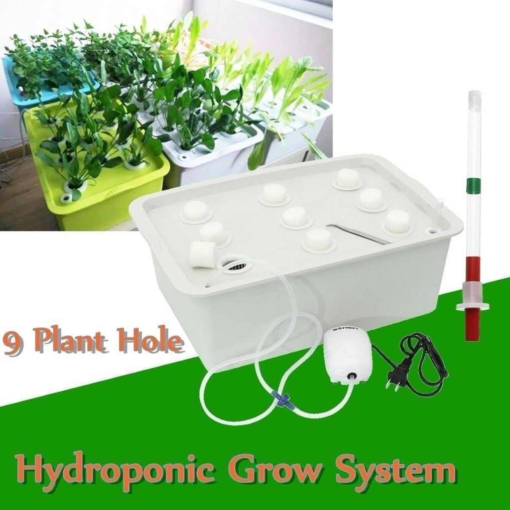 Hydroponic System Grow Kit  9 Holes Plant Site Bubble Tub DWC Deep Water Culture