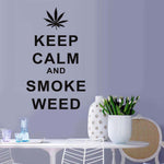 Keep Calm And Smoke Weed Quotes Wall Sticker Removable Wall Decals