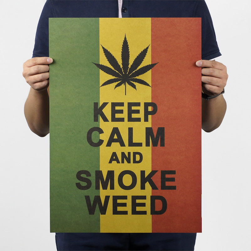 Keep Calm And Smoke Weed Jamaican Vintage Retro Poster Wallpaper Bar Coffee Wall Sticker Home Decoration Accessorie