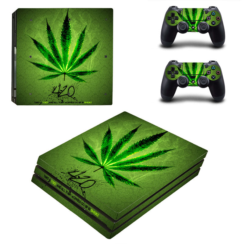 PS4 Pro Skin Green Weed Vinly Decal Sticker Cover For Playstaion4 Pro Console and Controller Skin Ps4 Pro Accessories