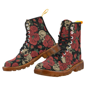 ANTIQUE RED SKULLS AND ROSES Men's Lace Up Canvas Boots (Model1203H)
