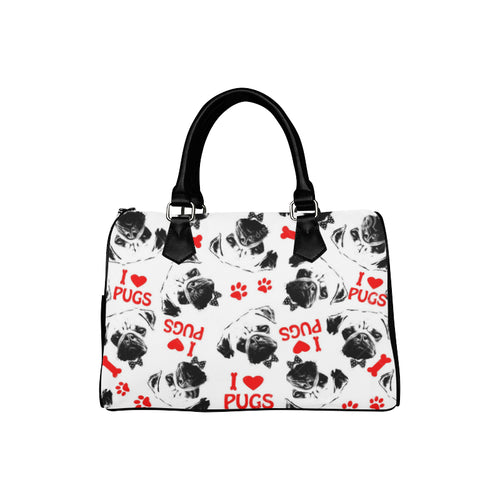 I LOVE PUGS BARREL BAG Barrel Type Handbag (Model 1621)