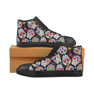 SUGAR SKULLS Aquila High Top Canvas Kid's Shoes (Model017)