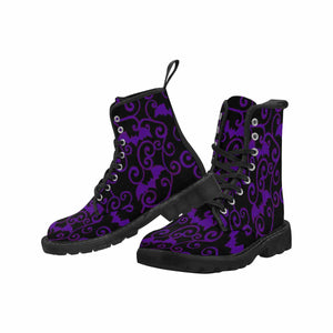 ANTIQUE BATS PURPLE Women's Lace Up Canvas Boots BLACK SOLES (Model1203H)