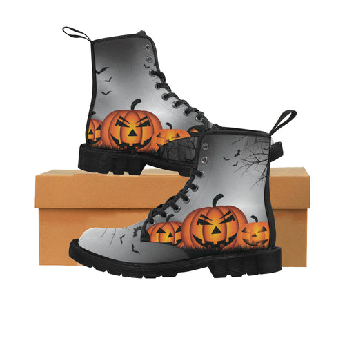 JACK O LANTERNS Women's Lace Up Canvas Boots (Model1203H)(Black)
