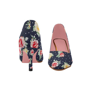 0cbaee37d63c BLUE FLORAL Women s Pointy Toe Low Kitten Heel Pumps (Model 053 ...
