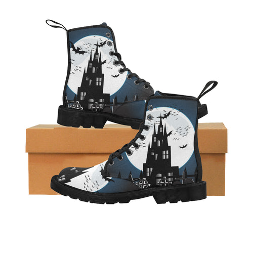 SPOOKY CASTLE Women's Lace Up Canvas Boots (Model1203H)(Black)