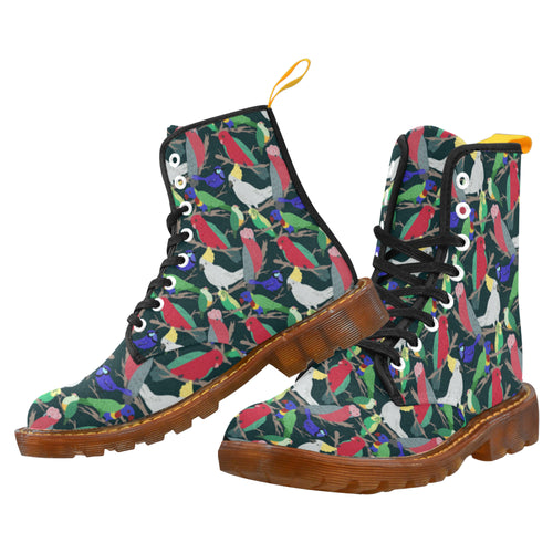 AUSSIE PARROTS Men's Lace Up Canvas Boots (Model1203H)
