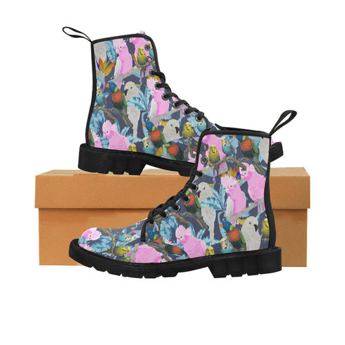 PARROTS OF OZ Women's Lace Up Canvas Boots  (Model1203H)