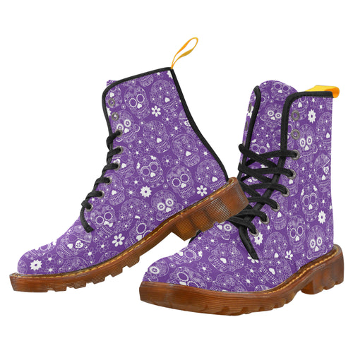 PURPLE SUGAR SKULLS Women's Lace Up Canvas Boots (Model1203H)