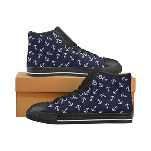 HELLO SAILOR (BLACK) High Top Canvas Kid's Shoes (Model017)