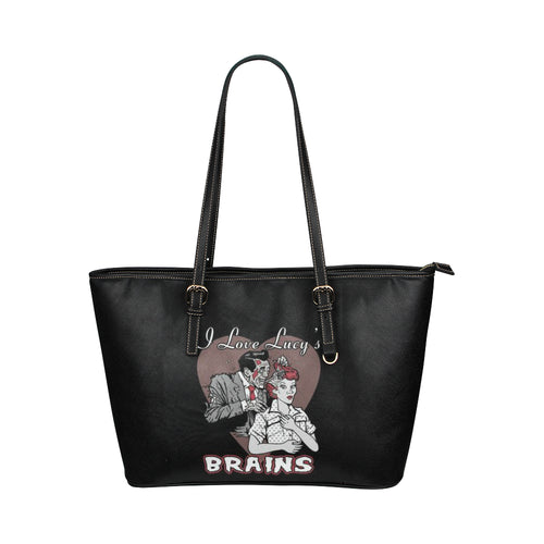 I LOVE ZOMBIE LUCY VEGAN Leather Tote Bag (Model1651) (Big)