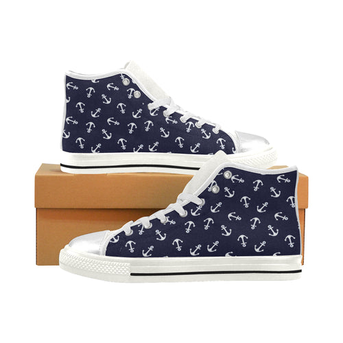 HELLO SAILOR (WHITE) High Top Canvas Kid's Shoes (Model017)