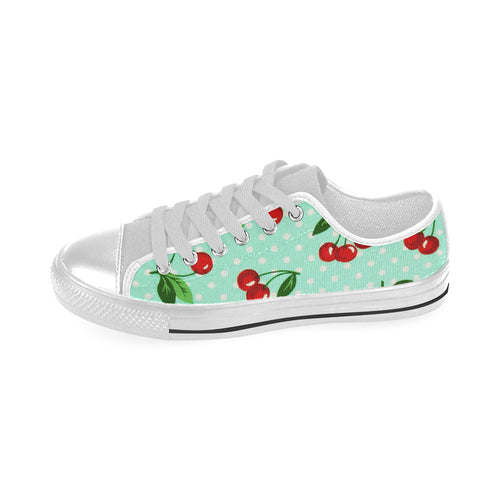 CHERRY POLKA DOT (BLUE) Canvas Kid's Shoes (Model018)