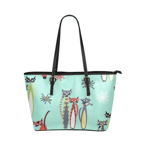 ATOMIC RETRO TALL CATS VEGAN Leather Tote Bag (Model1651)