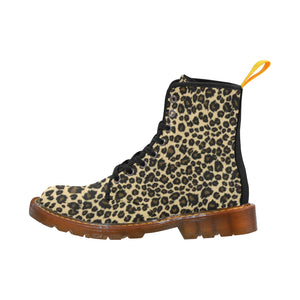 LEOPARD PRINT Women's Lace Up Canvas Boots (Model1203H)