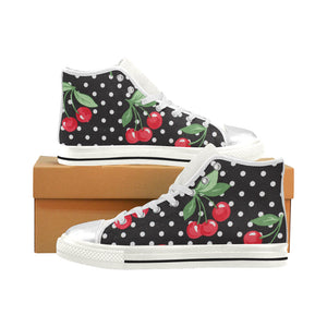 CHERRY POLKA DOTS High Top Canvas Kid's Shoes (Model017)