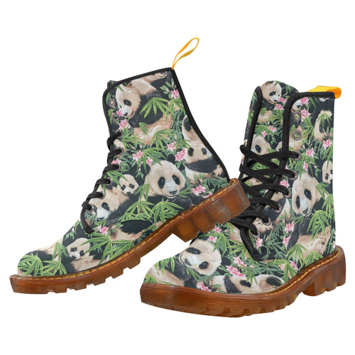 PANDA FOREST Women's Lace Up Canvas Boots (Model1203H)