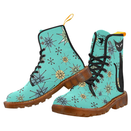ATOMIC CATS (Aqua or Orange) Women's Lace Up Canvas Boots (Model1203H)