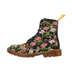 BLACK FLAMINGOS Women's Lace Up Canvas Boots (Model1203H)