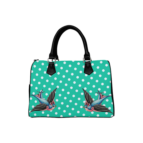 SWALLOWS POLKA DOTS TEAL Barrel Type Handbag (Model 1621)