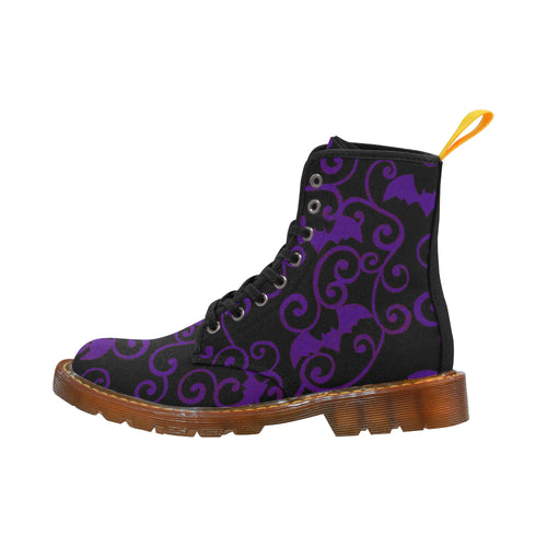 ANTIQUE BATS PURPLE Women's Lace Up Canvas Boots (Model1203H)