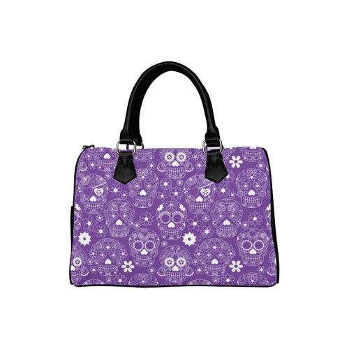PURPLE SUGAR SKULLS Barrel Type Handbag (Model 1621)