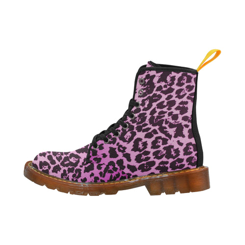 PINK LEOPARD Women's Lace Up Canvas Boots (Model1203H)