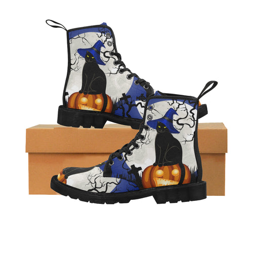 HALLOWEEN CAT Women's Lace Up Canvas Boots (Model1203H)(Black)