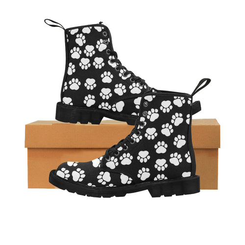 PETLOVERS Women's Lace Up Canvas Boots (Model1203H)(Black)